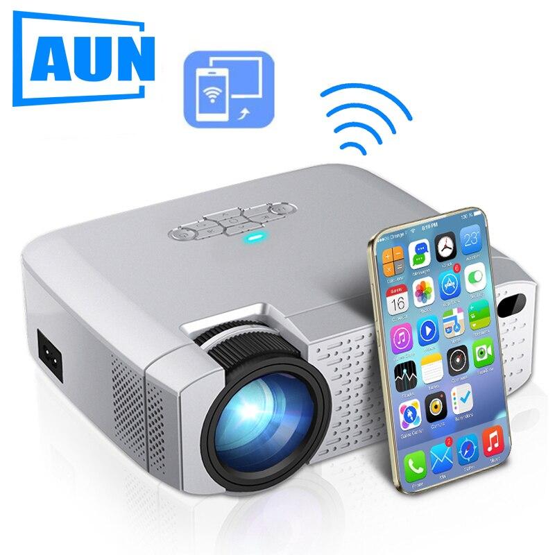 Aun led mini projetor d40w, vídeo beamer para casa cinema.1600 lumens, suporte hd, exibição de sincronização sem fio para iphone/android telefone
