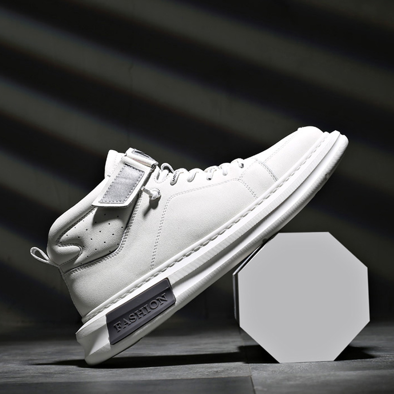 New Men's Shoes Leather Sportswear Shoes Men's Velcro All Go With Small White Shoes High-top Board Shoes Fashion Shoes