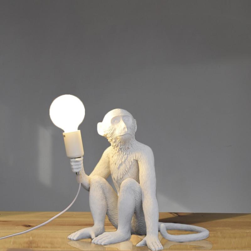 Resin Black White Gold Monkey Lamp Pendant Light for Living Room Lamps Art Parlor Study Room Led Lights Lustre with E27 Led Bulb 4
