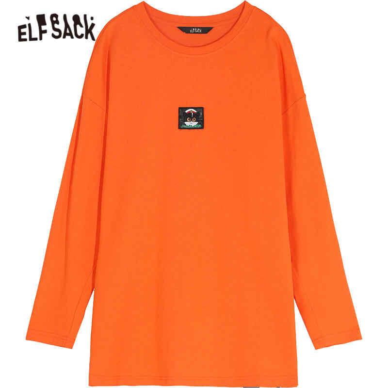 Elfsack Oranye Padat Kartun Bordir Korea Wanita T Shirt 2020 Musim Semi Putih Baru Lengan Panjang Kasual Wanita Dasar Harian Atasan