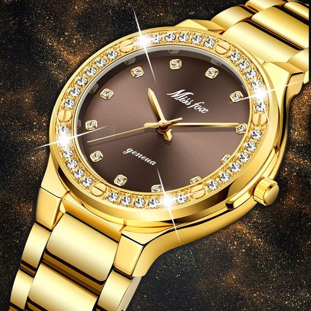 MISSFOX אלגנטי אישה שעון יוקרה מותג נקבה שעוני יד יפן Movt 30M עמיד למים זהב יקר אנלוגי ז נבה קוורץ שעון