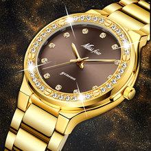 MISSFOX elegancka kobieta zegarek luksusowa marka kobieta zegarek japonia Movt 30M wodoodporny złoty drogi analogowy zegarek kwarcowy genewa tanie tanio QUARTZ Przycisk ukryte zapięcie STAINLESS STEEL 3Bar Moda casual 20mm ROUND Odporny na wstrząsy Odporne na wodę Hardlex