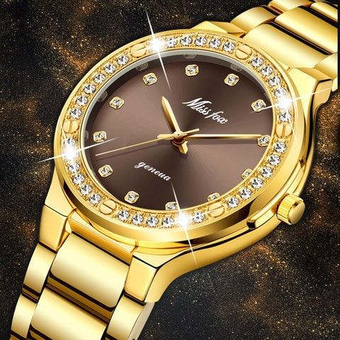 Relógio de Pulso m à Prova Missfox Elegante Mulher Marca Luxo Feminino Japão Movt 30 Dwaterproof Água Ouro Caro Analógico Genebra Quartzo Relógio