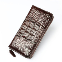 Real crocodile leather men casual zipper long purse OL business card holder wallet