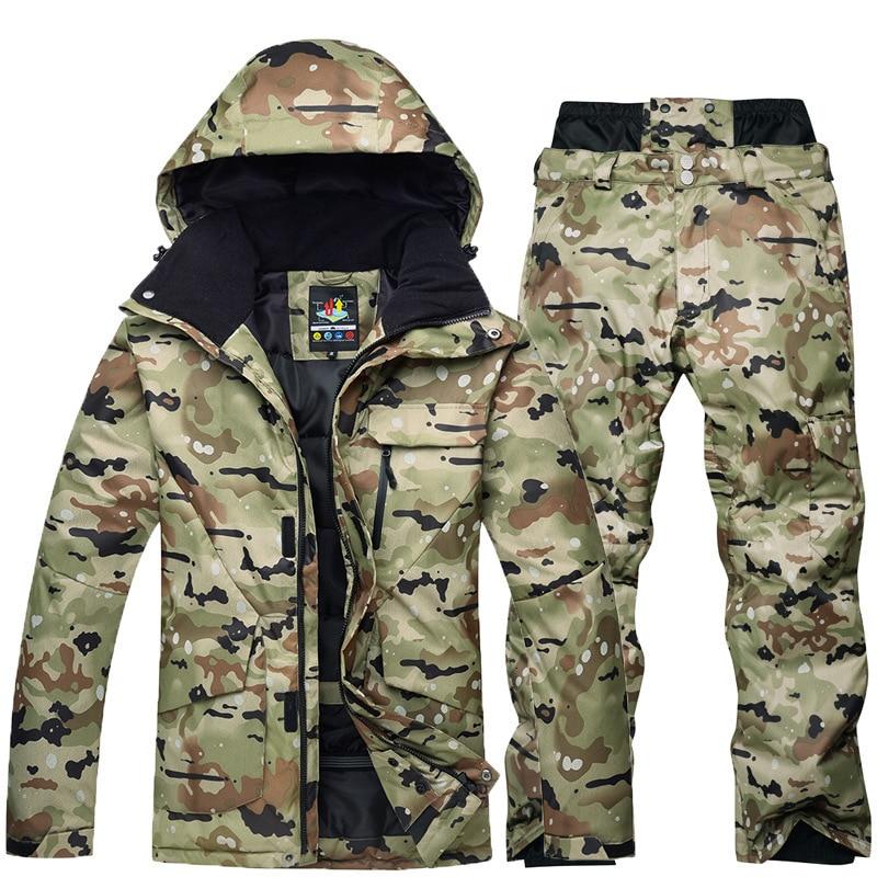 Waterproof Thermal Ski Jackets + Snowboard Pants Men Super Warm Winter Snowboard Camouflage Jacket Set Suit Pant Windproof Snow