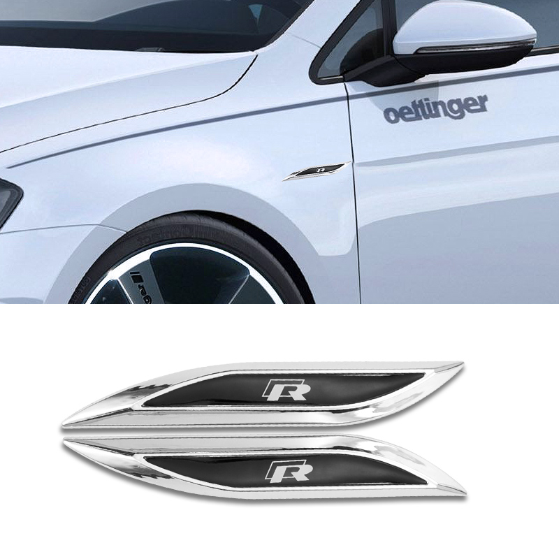 2 Pcs 3D Metal R Logo <font><b>Stickers</b></font> Side Fender Emblem Accessorie For VW GTI Polo <font><b>Golf</b></font> 7 MK2 <font><b>MK3</b></font> MK6 MK7 GTS Passat Magotan Tiguan image