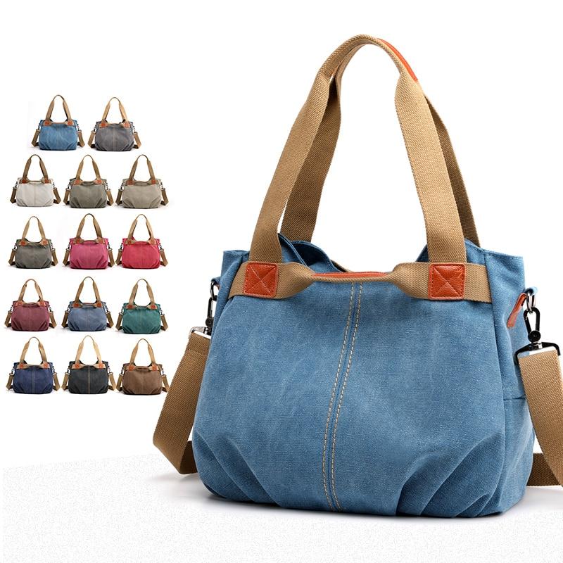 Canvas Hobos Bag Women Handbags Female Designer Large Capacity Leisure Shoulder Bags For Travel Weekend Outdoor Bolsas Colors