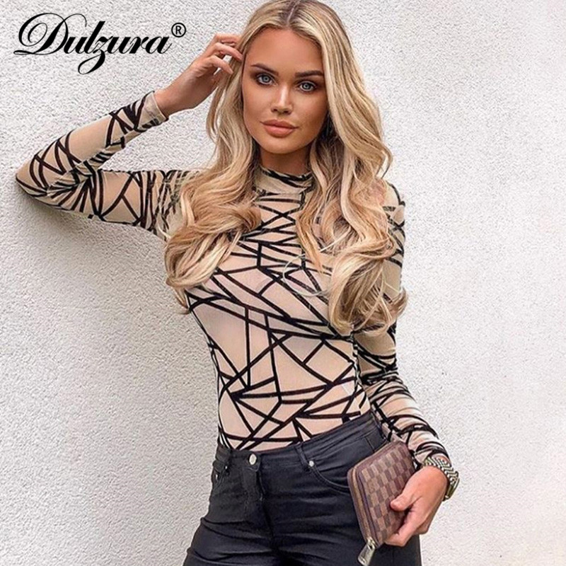 Dulzura 2019 Autumn Winter Women Bodycon Print Long Sleeve Bodycon Romper One Piece Streetwear Festival Clothing Party Body