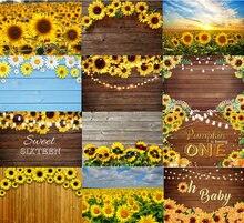 Подсолнухи коричневая деревянная стена Фотофон счастливечерние
