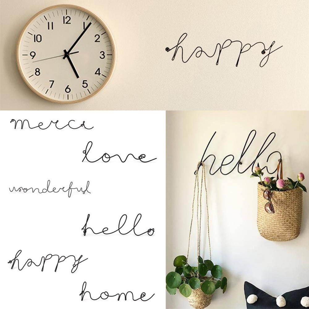 ><font><b>Nordic</b></font> <font><b>Style</b></font> Home Decor Iron <font><b>Letters</b></font> Wall Hanging Decorations Room Hanging Sticker Hallway Sign Art Wall Ornaments For Home