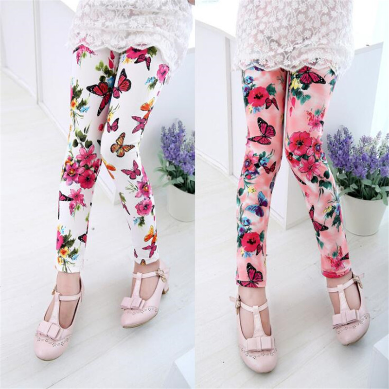 1-13 Years Girl Skinny Pants Autumn Spring Kids Leggings Children Pantyhose Cotton Flower Printed Pencil Pants Girls Trousers