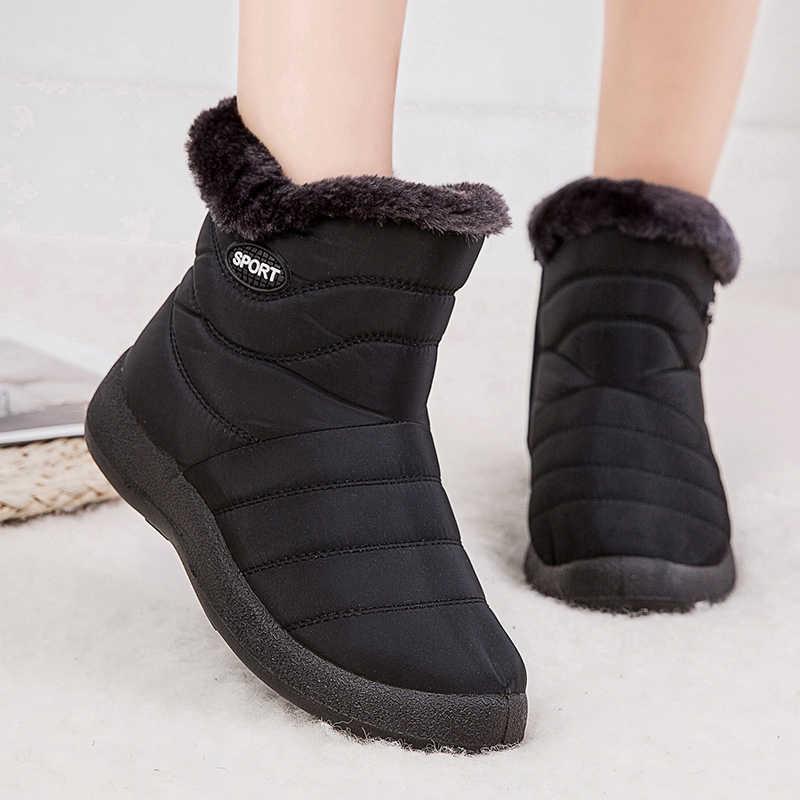 Femmes bottes 2019 bottes d'hiver avec Botas de cheville matelassé Mujer chaud imperméable bottes de neige chaussures d'hiver femme Botines grande taille 43