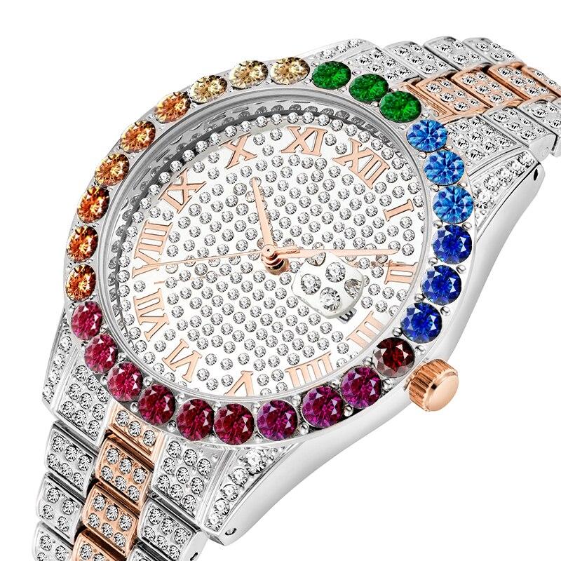 MISSFOX Rainbow Diamond Set Quartz Movement 44MM Bezel Water Resistant Auto Date Calendar Piguet High Quality Luxury Men's Watch