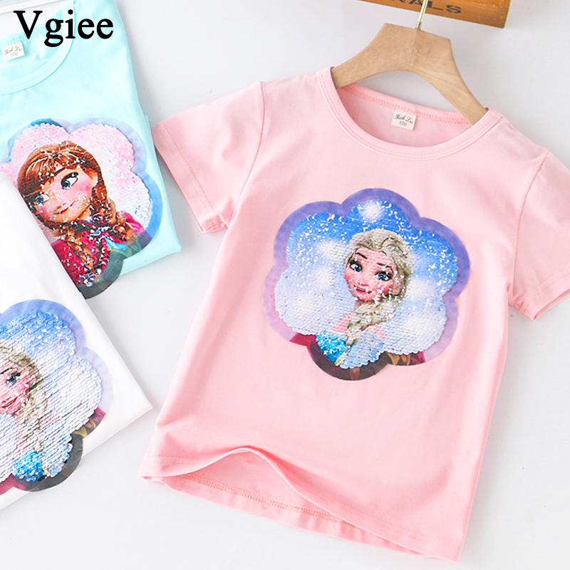 Vgiee T-<font><b>shirt</b></font> for Girls 2020 Children's Clothing The New Summer Girls Short Sleeve Cotton Frozen <font><b>2</b></font> T-<font><b>shirt</b></font> Kids Outfits image