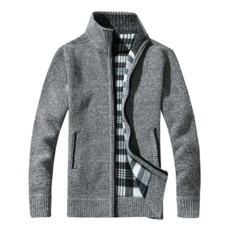 Winter Mens Zip Up Sweatercoat Thermal Knitted Coats Plaid Insulated Fleece Warm Lined Knitted Cardigan Jumper Outwear Tops Men