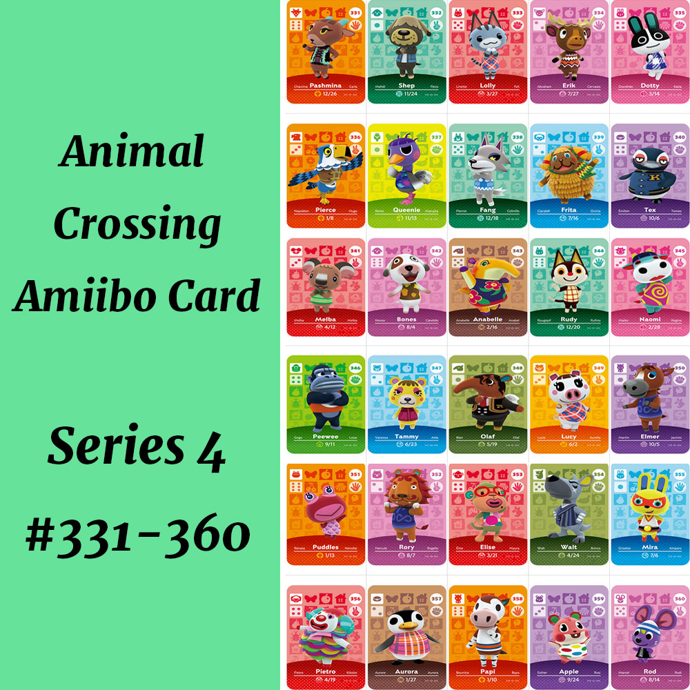 Animal Crossing Amiibo Card Series 4 (331 To 360) NS Amiibo Card Animal Crossing Card Amiibo Work For NS Games Villager Lolly