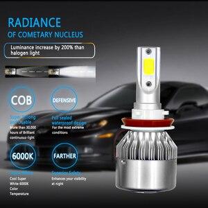 Image 2 - 2 шт. H11 H7 H1 H3 по технологии COB светодиодный налобный фонарь лампы H4 (Подол короче спереди и длиннее сзади) Луч 72W фары для 8000LM 6500K Авто головного средства ухода за кожей Шеи светильник 9005 9006 светодиодный автомобильный светильник тумана светильник s
