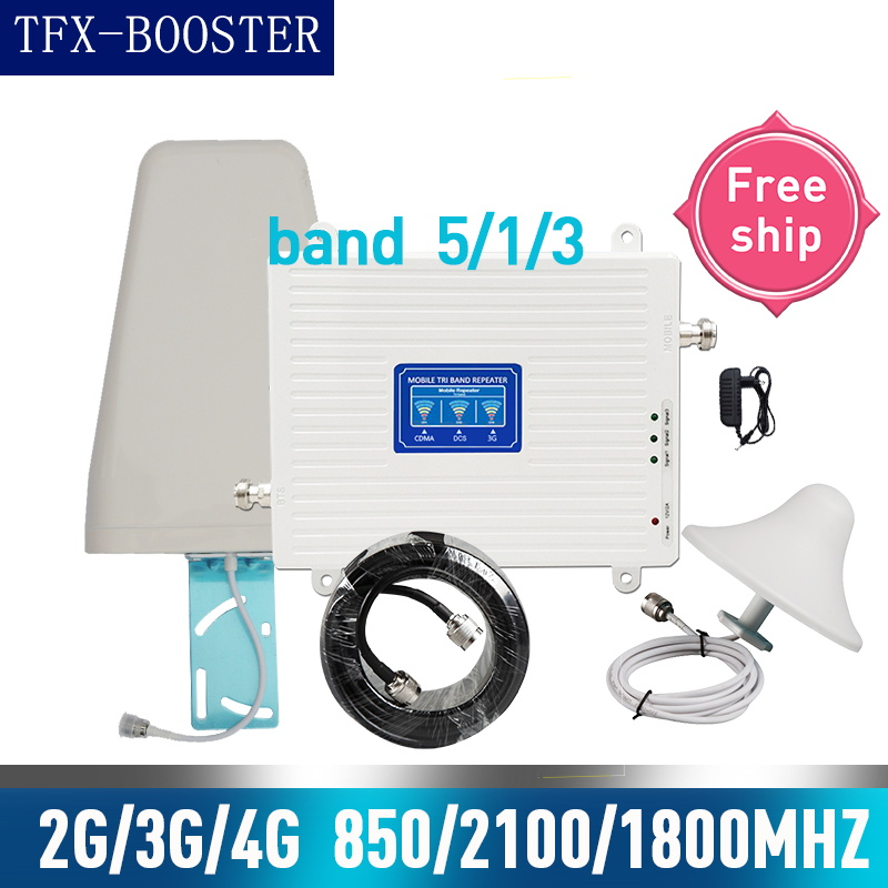 TFX-BOOSTER 850/1800/2100mhz Tri Band Signal Booster 850 1800 2100 CDMA WCDMA UMTS LTE Cellular Repeater 2g 3g 4g Amplifier