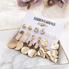 Fashion Geometric Dangle Earrings Set For Women 2019 Brincos Bohemian Oversize Gold Color Metal Sequin Stud Jewelry