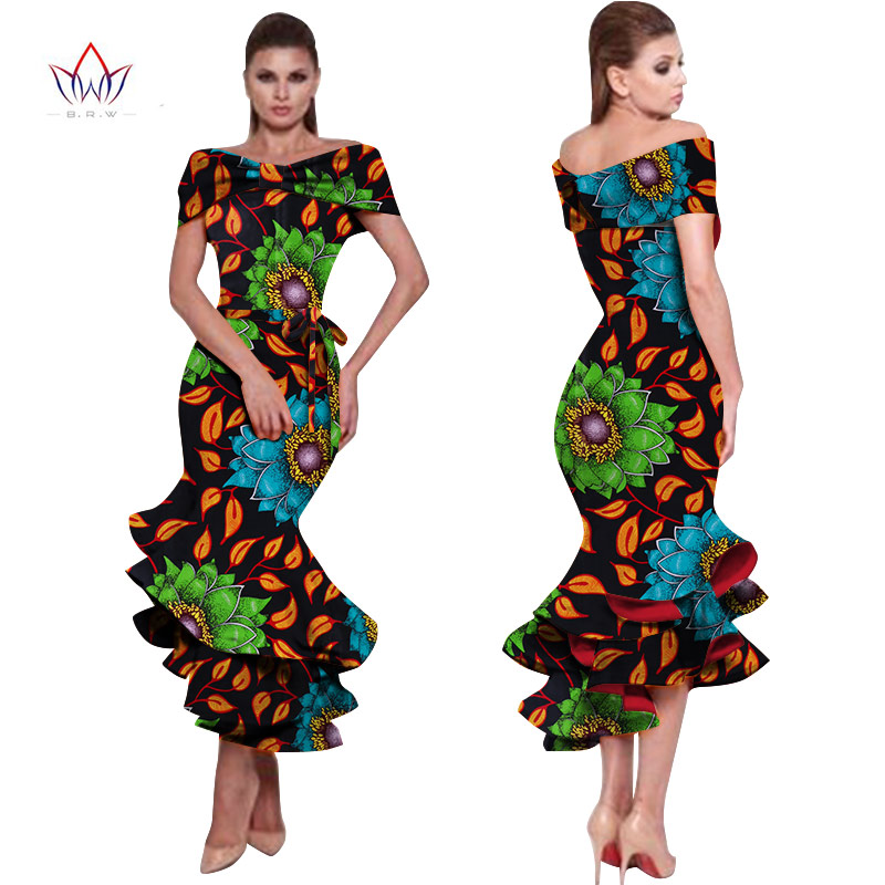 African Dresses for Women 2020 New Style Bazin Riche Fashion Party Dress Dashiki Sexy Plus Size  African Fashion Clothing WY1150