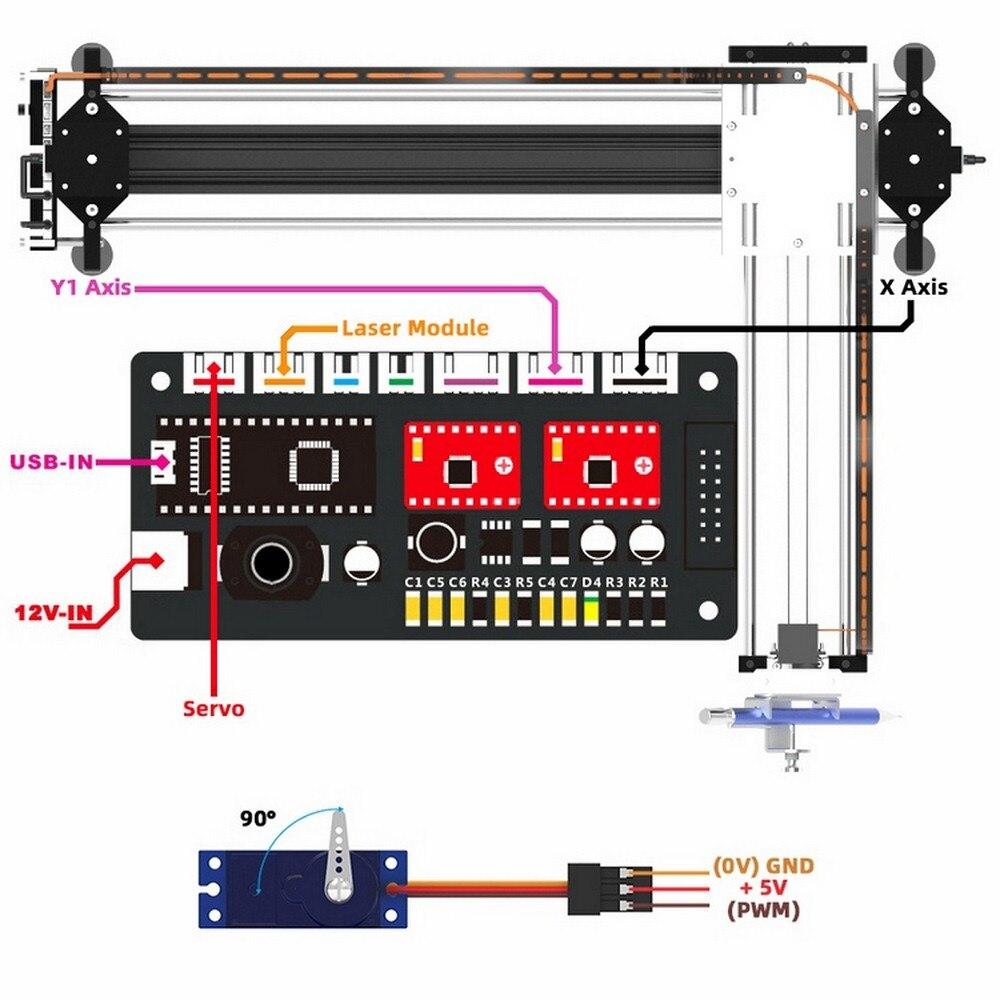 GKDraw X3 Pro 2 in 1 XY Plotter Zeichnung 5500mw CNC Gravur Maschine Kit Holz Router 2500mw 500mw Schriftzug Roboter Laser Schreiben