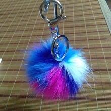 Модный Красочный помпон брелок пушистый искусственный мех шар