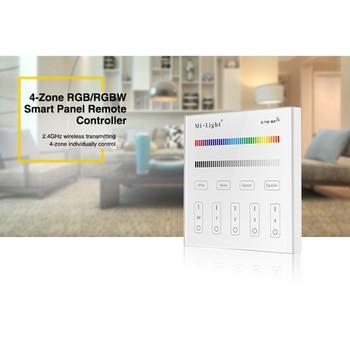 цена Miboxer T3 Panel Controller  4-Zone RGB/RGBW Smart Panel  AC180-240V 220V 2.4G RF Touch Screen Control for LED Strip / Bulb онлайн в 2017 году