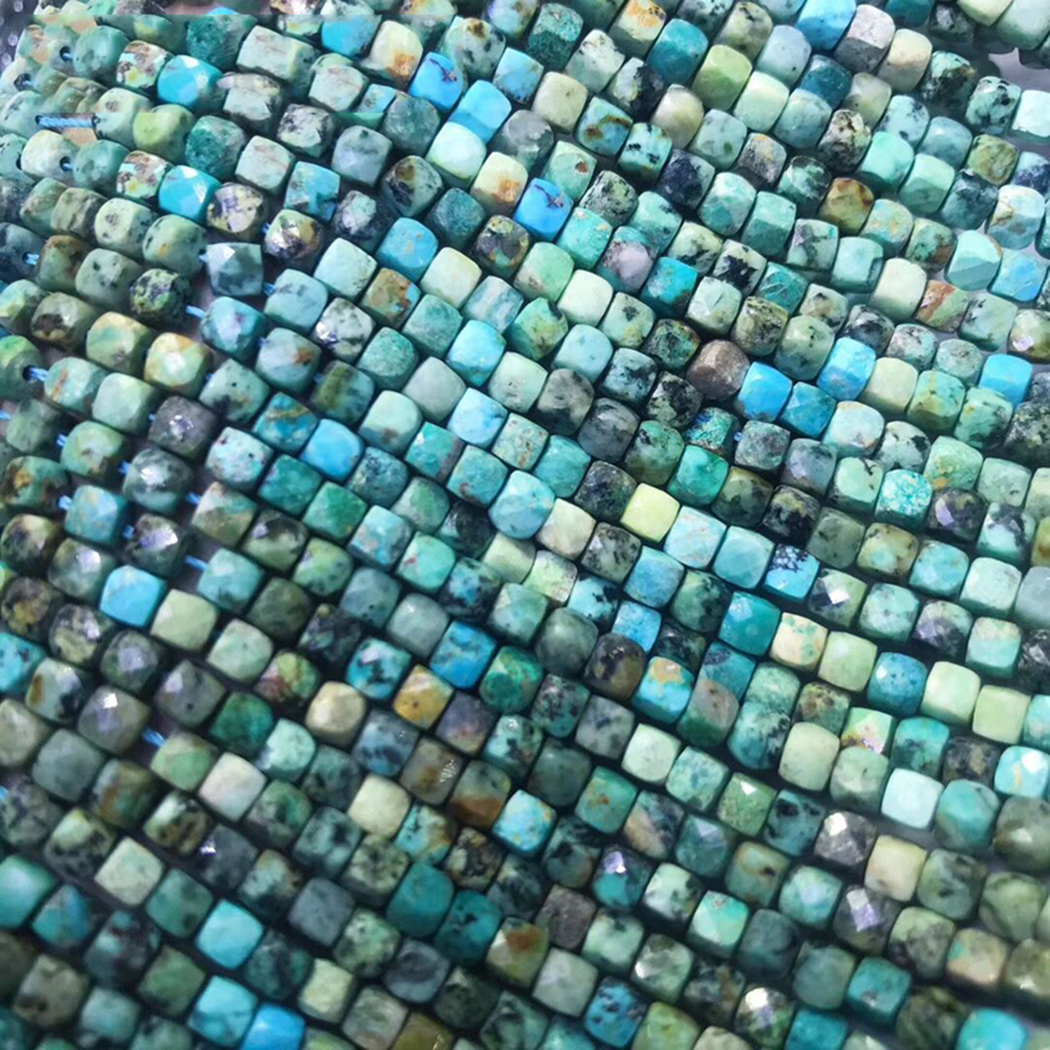 ICNWAY Natural Turquoise 4-4.5mm Faceted Cube Gemstone Beads  For 925 Sterling Silver Jewelry Making  Necklace Bracelet 15inch