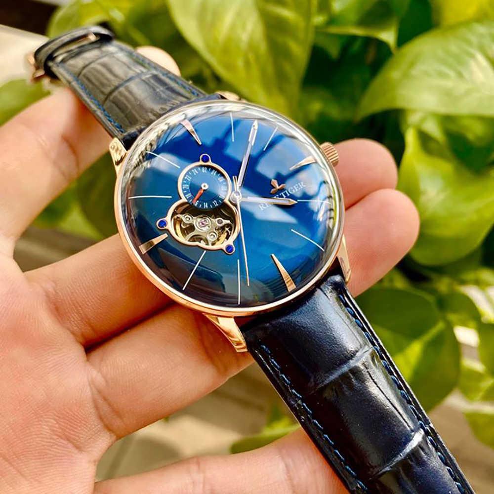 Nuevo reloj de oro rosa Reef Tiger/RT de lujo, relojes mecánicos automáticos para hombre, relojes Tourbillon con correa de cuero marrón RGA8239