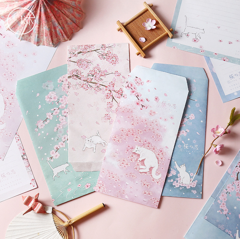 Muran Writing Paper Set Sakura Thinking Series Creative Beautiful Gift Anniversary Illustration PDA 3 Envelope 6 Writing Paper
