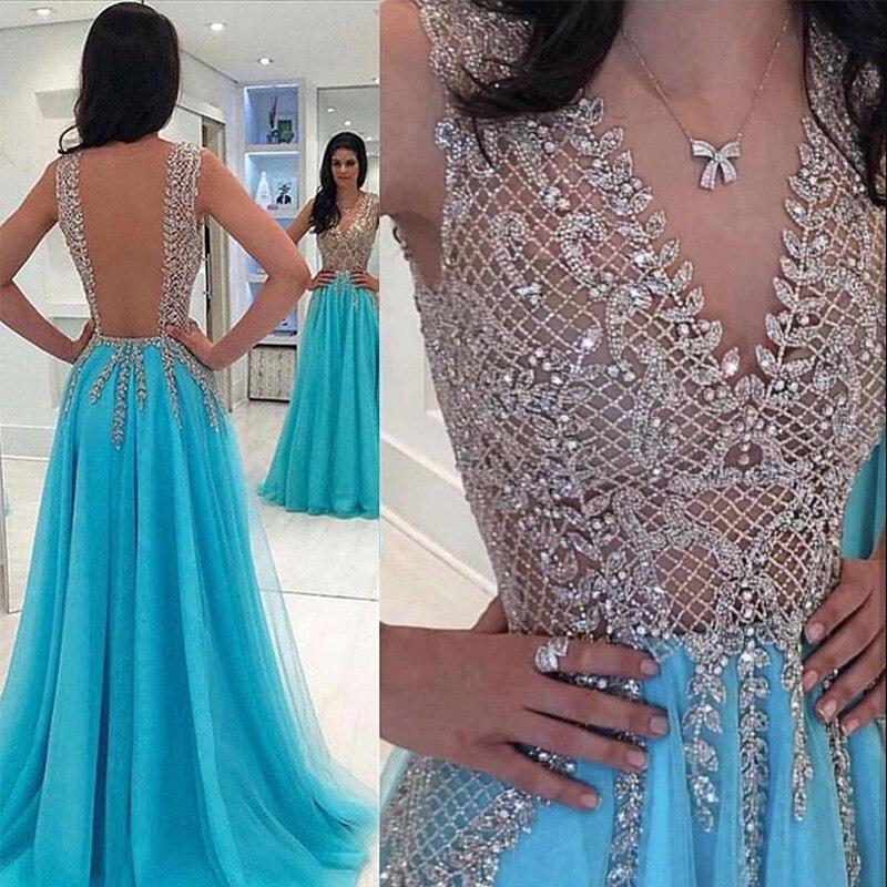 Profonde col en V longue robe De soirée 2019 Sexy robes De soirée formelle Tulle robe De bal une ligne grande taille Vestidos De Fiesta OL103544 - 3