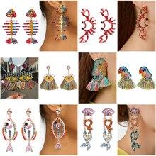 Bohemian Exaggeration Personality Animal Earrings Women Color Light Luxurious Temperament Ear Nail Earings Fashion Jewelry Boho