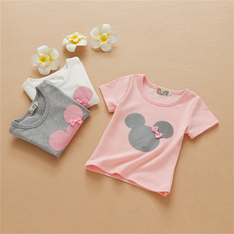 Baby Girls Cartoon Minnie Short Sleeve T-Shirt For Kids Girls Cotton Long Sleeve T-Shirt Top Children's Summer Clothes New Hot