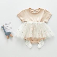 Летнее фатиновое платье с маргариткой, детское платье с коротким рукавом для новорожденных девочек, детские платья для девочек, костюмы, од...