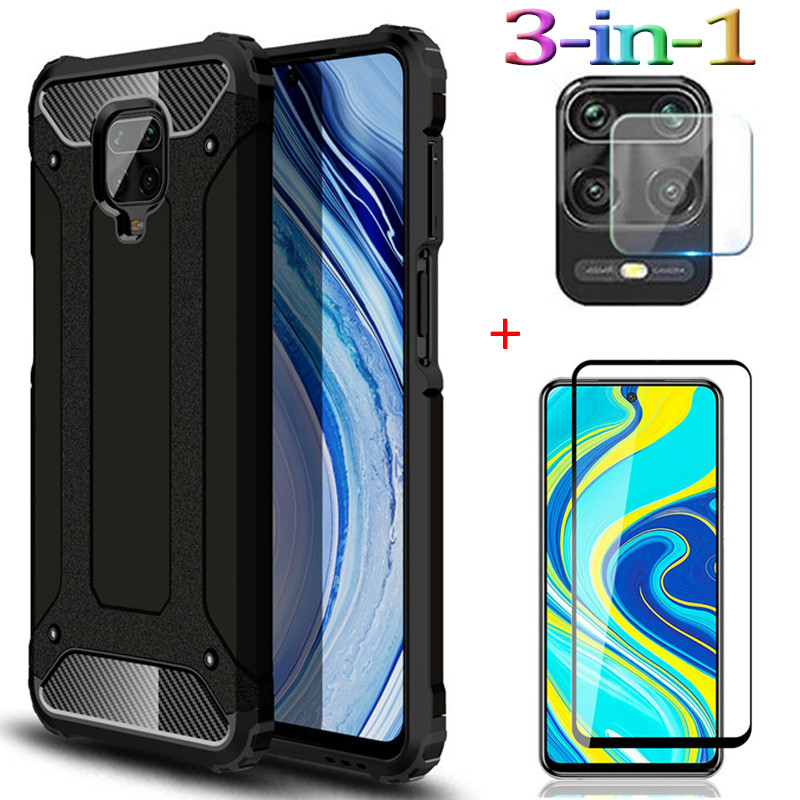3-In-1 Armor Glass Case Note-9S Redmi Note 9 S 2020 Luxury Anti-Fall Phone Cover Redminote 8T Note9pro Max Case Xiaomi 9S Note9s