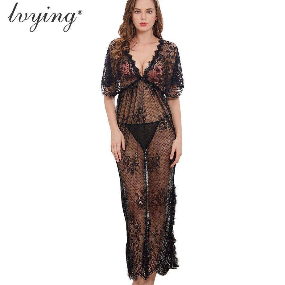 New Women Pyjamas Sexy Lace Night Dress Female Lingerie Nighty
