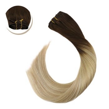 "Ugeat Clip in Full Head Human Hair Extensions Thick End Clip Ins 14-24"" Non-Remy Brazilian Straight Hair Blonde Hair 120G/7Pcs"