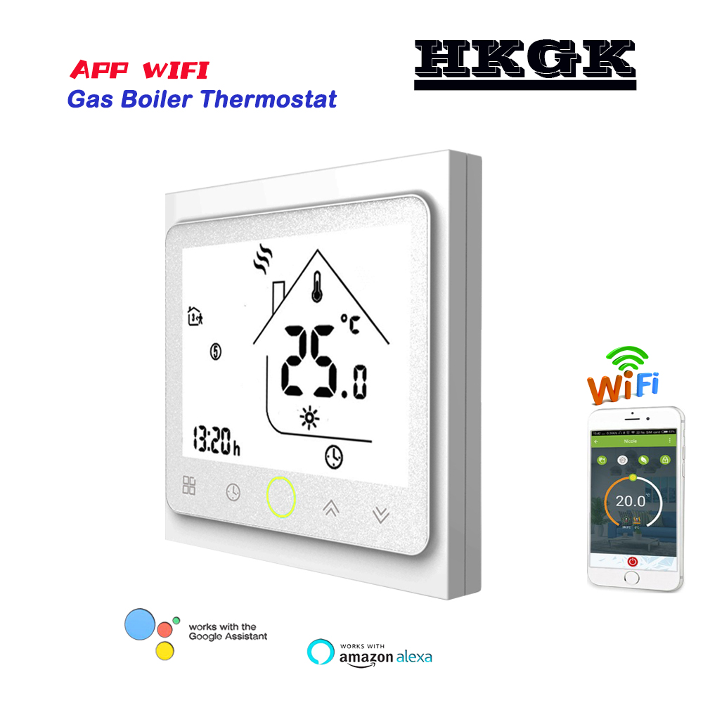 24VAC 95-240VAC Gas Boiler Thermostat For Dry Contact &Passive Contac,WIFI Thermostat Can Works With  Alexa Google Home