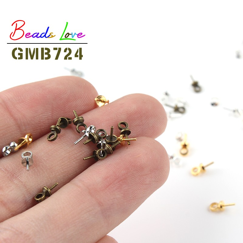 100pcs 6*3mm Gold Silver Eye Pin Bail Pearl Charm Connector Bail For Pendants Supplies Diy Jewelry Findings Making Accessories