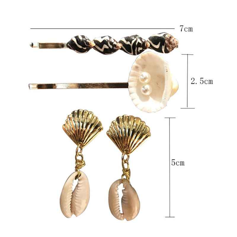 1 conjunto Brincos Headwear Acessórios Para o Cabelo Das Mulheres Meninas Shell Imitação De Pérolas Clipes Grampos Palavra Brinco Jóias T4MD