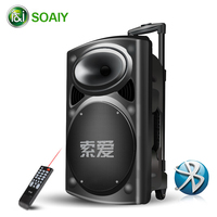12 Inch Trolley Speakers 300W Home Outdoor Portable Speaker Bluetooth Big Volume Stereo DJ Party Performance Subwoofer Speaker