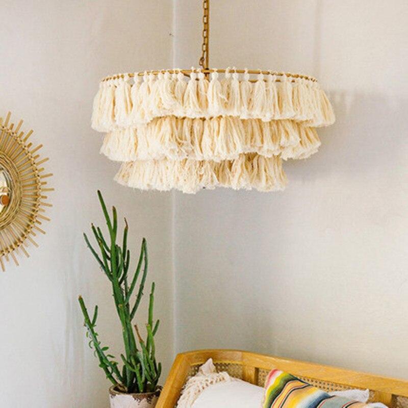 Modern Designer Decorative Chandelier Cotton Tassel Bohemian Style Chandeliers Chain Pendent E27/LED Living Room Art Lighting
