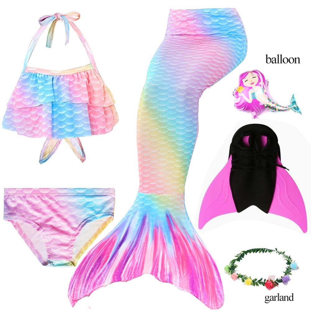 Kids Girls Rainbow Swimsuits Mermaid Tail Swimwear Costume Bikini Monofin Sets