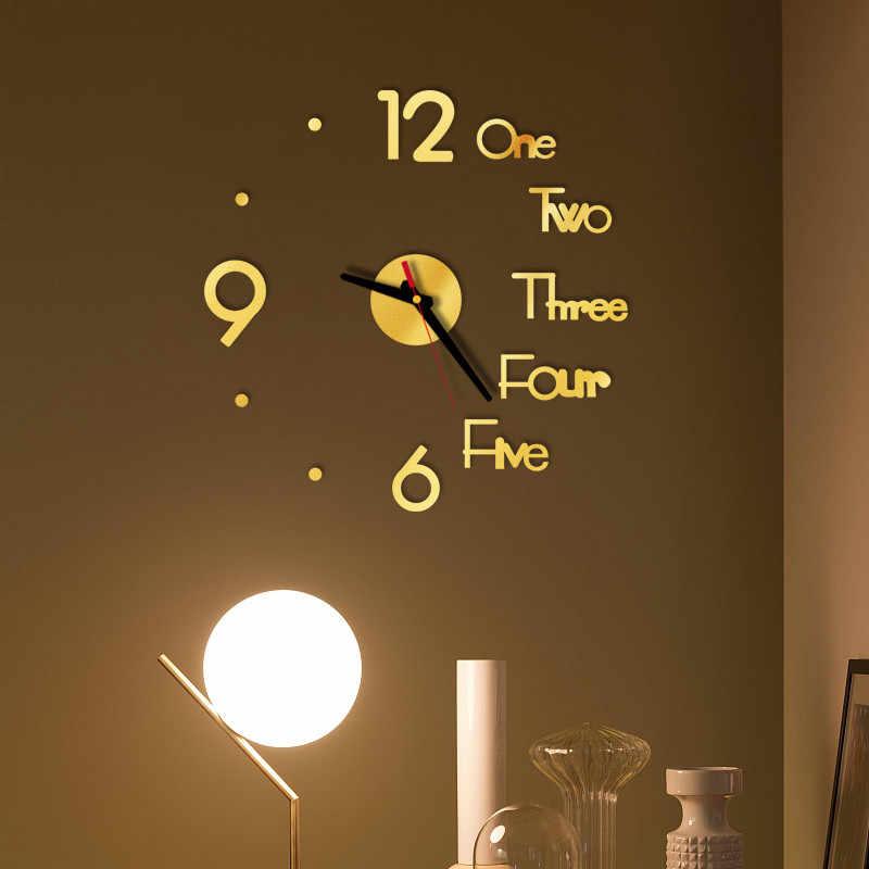 3D duży numer ścienny lustro zegarowe ścienne lustro zegarowe naklejka duża naklejka na zegarek Home Decor unikalny prezent diy ściana naklejki # BL5
