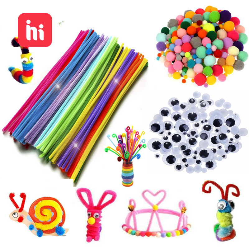 Colorful Plush Sticks Wool Pompoms Materials Kids DIY Montessori Craft Pipe Math Counting Education Stick Child Puzzles Toy ZXH