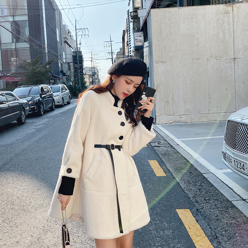 MISHOW Winter Thick Solid Standing Collar Lambswool Coat Women Causal Single-breasted Belt Warm Fur Jacket  MX19D8329