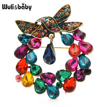 Wuli & bébé cristal nœud papillon broches pour femmes fleur bureau fête broche broches cadeaux