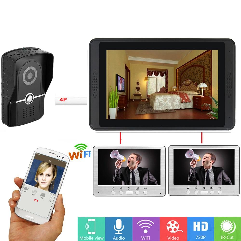 APP Remote Unlock Video Intercom 7Inch Monitor Wifi Wireless Video Intercom Door Phone Doorbell SD Recording System For Security