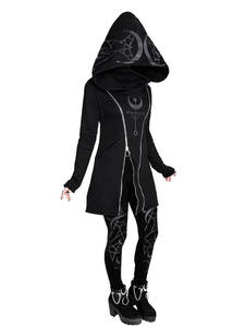 Pullover Hoodies Coat Long-Sleeve Zipper Gothic Punk Women Female Winter Autumn Casual