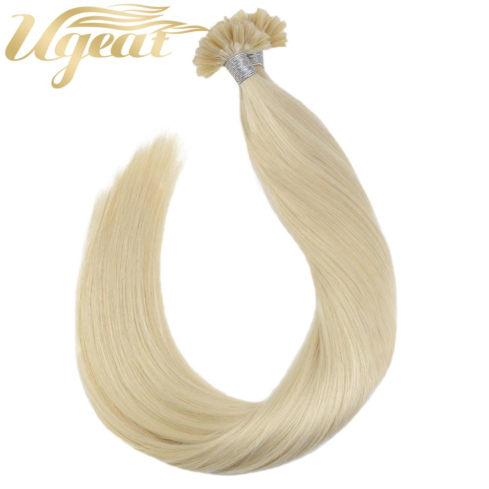 Ugeat Nail Tip Hair Extension 100% Real Human Hair Pure Color Machine Remy Hair Natural Straight 50g/100g U Tip Hair Extension